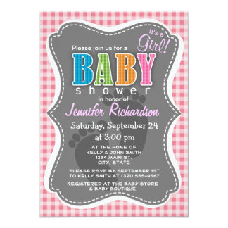 "Blush Pink Gingham 4.5"" X 6.25"" Invitation Card"