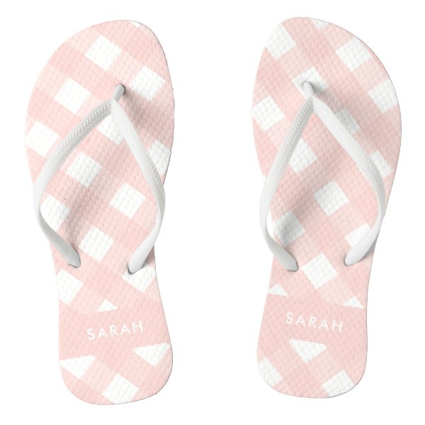 Blush Pink Gingham Thongs Personalized Flip Flops