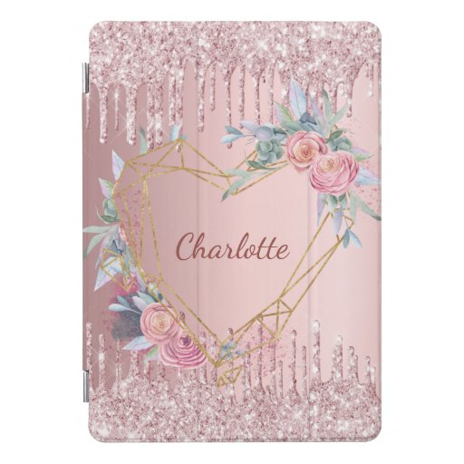 Blush pink glitter floral monogram name iPad pro cover