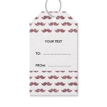 Blush Pink Glitter Mustache Pattern Printed Gift Tags