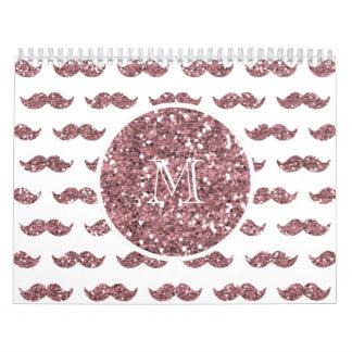 Blush Pink Glitter Mustache Pattern Your Monogram Wall Calendar