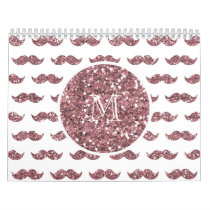 Blush Pink Glitter Mustache Pattern Your Monogram Calendar