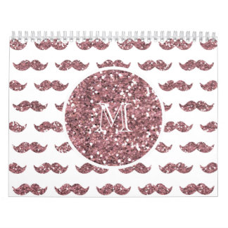 Blush Pink Glitter Mustache Pattern Your Monogram Calendar