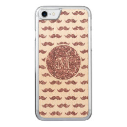 Blush Pink Glitter Mustache Pattern Your Monogram Carved iPhone 8/7 Case