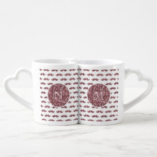 Blush Pink Glitter Mustache Pattern Your Monogram Coffee Mug Set