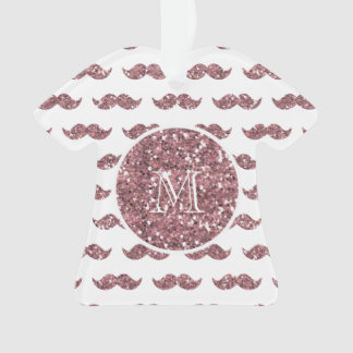 Blush Pink Glitter Mustache Pattern Your Monogram Ornament