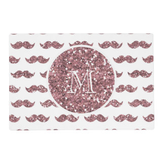 Blush Pink Glitter Mustache Pattern Your Monogram Placemat