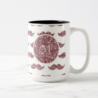 Blush Pink Glitter Mustache Pattern Your Monogram Two-Tone Coffee Mug