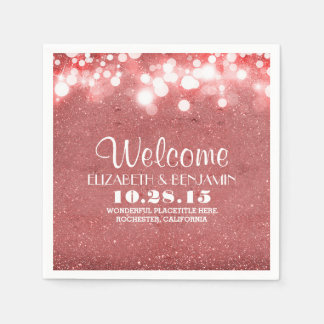 blush pink glitter string lights wedding paper napkin