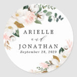 """Blush Pink Gold and White Magnolia Floral Wedding Classic Round Sticker<br><div class=""""desc"""">Designs features elegant magnolia, peony rose, eucalyptus, greenery and other watercolor elements in white, blush pink or pink peach and more. The greenery features shades of dark and light green colors with some elements featuring gold, antique gold and copper. This classy item is versatile for varieties of wedding themes --...</div>"""