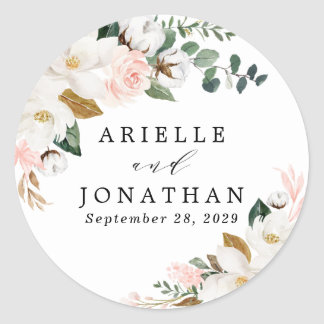 Blush Pink Gold and White Magnolia Floral Wedding Classic Round Sticker