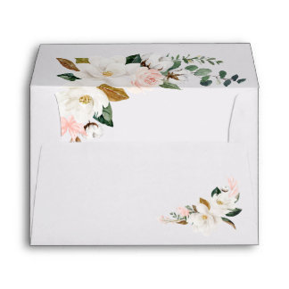 Blush Pink Gold and White Magnolia Floral Wedding Envelope