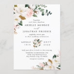 """Blush Pink Gold and White Magnolia Floral Wedding Invitation<br><div class=""""desc"""">Designs features elegant magnolia, peony rose, eucalyptus, greenery and other watercolor elements in white, blush pink or pink peach and more. The greenery features shades of dark and light green colors with some elements featuring gold, antique gold and copper. This classy item is versatile for varieties of wedding themes --...</div>"""