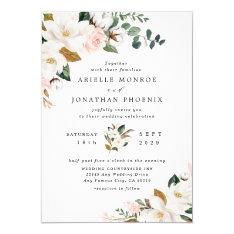 Blush Pink Gold And White Magnolia Floral Wedding Invitation at Zazzle