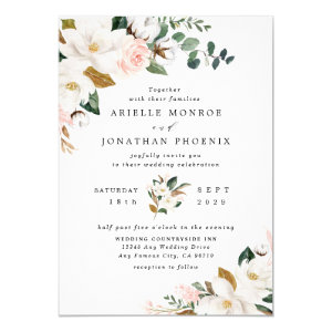 Blush Pink and Gold Wedding Invitations, White Magnolia Floral