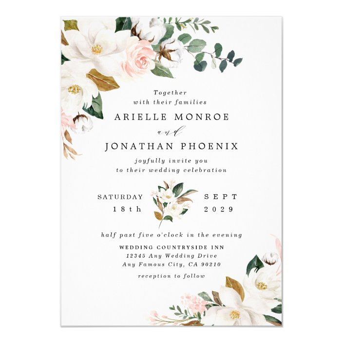Blush Pink Gold And White Magnolia Floral Wedding Invitation Zazzle