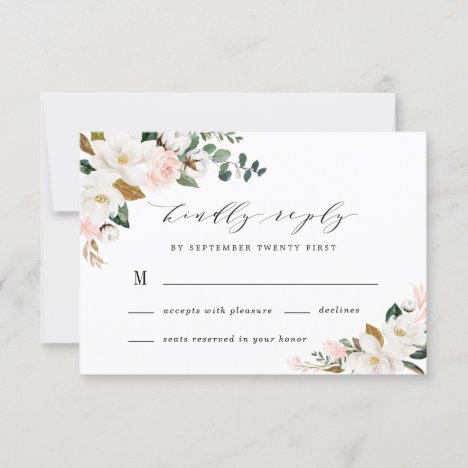 Blush Pink Gold and White Magnolia Floral Wedding RSVP Card