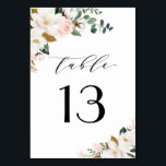 """Blush Pink Gold and White Magnolia Floral Wedding Table Number<br><div class=""""desc"""">Designs features elegant magnolia, peony rose, eucalyptus, greenery and other watercolor elements in white, blush pink or pink peach and more. The greenery features shades of dark and light green colors with some elements featuring gold, antique gold and copper. This classy item is versatile for varieties of wedding themes --...</div>"""