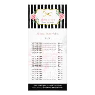 Blush Pink Gold Chic Hair Salon Floral Price List Rack Card