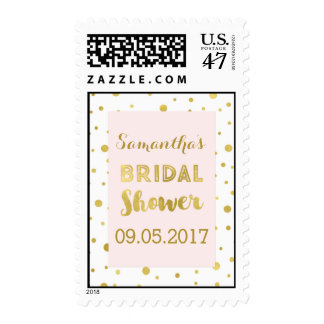 Blush Pink Gold Confetti Bridal Shower Stamp