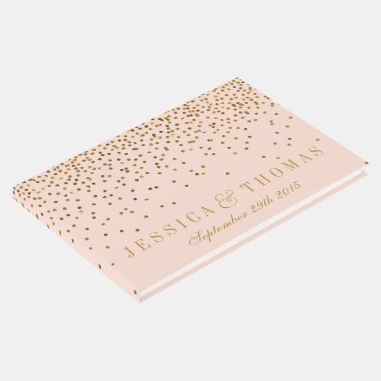 Blush Pink & Gold Confetti Wedding Guest Book
