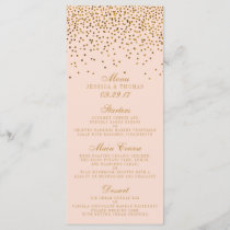 Blush Pink & Gold Confetti Wedding Menu