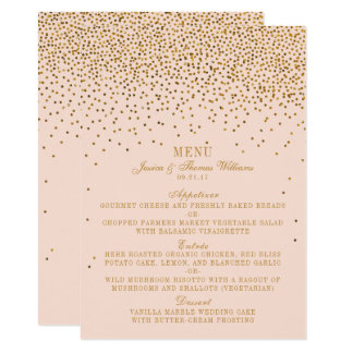 Blush Pink & Gold Confetti Wedding Menu Card