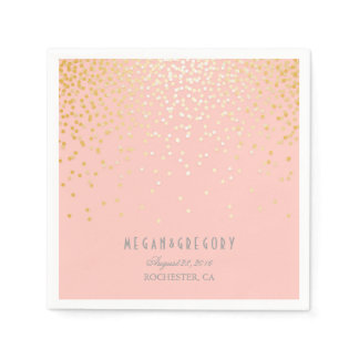 Blush Pink Gold Confetti Wedding Napkin
