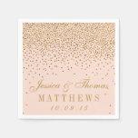Blush Pink & Gold Confetti Wedding Paper Napkin at Zazzle
