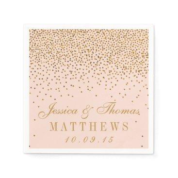 invitation_republic Blush Pink & Gold Confetti Wedding Paper Napkin