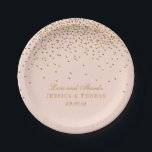 """Blush Pink &amp; Gold Confetti Wedding Paper Plate<br><div class=""""desc"""">Blush Pink &amp; Gold Confetti Wedding Paper Plates.  *Please note that Zazzle only sells printed products,  therefore this item does not include any real glitter or foil materials.</div>"""