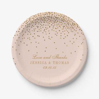 Blush Pink & Gold Confetti Wedding Paper Plate at Zazzle