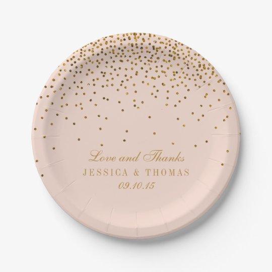 Blush Pink u0026 Gold Confetti Wedding Paper Plate  sc 1 st  Zazzle & Blush Pink u0026 Gold Confetti Wedding Paper Plate | Zazzle.com