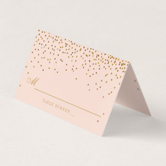 Blush Pink & Gold Confetti Wedding Place Card