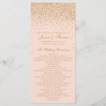 Blush Pink & Gold Confetti Wedding Program