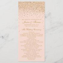 Blush Pink & Gold Confetti Wedding Program