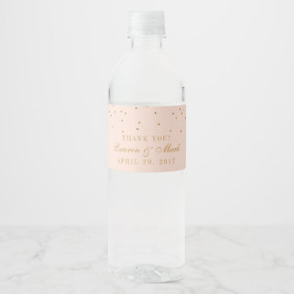 Blush Pink & Gold Confetti Wedding Water Bottle Label