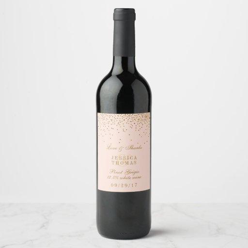 Blush Pink & Gold Confetti Wedding Wine Label