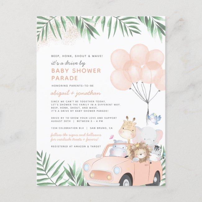 Blush Pink & Gold Cute Safari Drive By Baby Shower Invitation Postcard