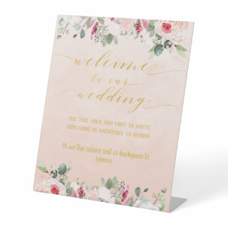 Blush Pink & Gold Fancy Font Calligraphy Welcome Pedestal Sign
