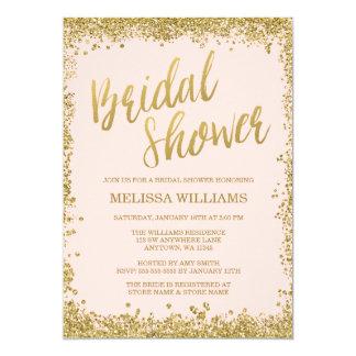 Blush Pink Gold Faux Glitter Bridal Shower Card