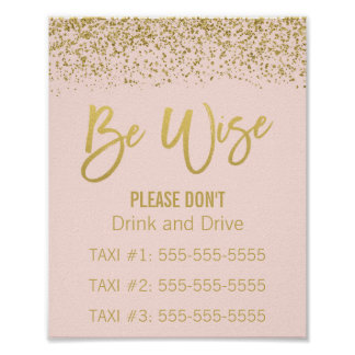 Blush Pink Gold Faux Glitter Wedding Taxi Sign