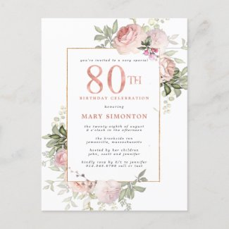 Blush Pink Gold Floral 80th Birthday Party Invitation Postcard