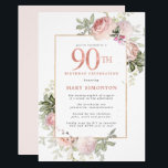"Blush Pink Gold Floral 90th Birthday Party Invitation<br><div class=""desc"">Honor a special woman with this elegant and feminine 90th Birthday party invitation. 90th is written in large rose pink text. Birthday celebration follows. The honored guest's name is also in pink capital letters. The remainder of the text is soft dove grey. The 90th birthday celebration details are surrounded by...</div>"