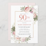 """Blush Pink Gold Floral 90th Birthday Party Invitation<br><div class=""""desc"""">Honor a special woman with this elegant and feminine 90th Birthday party invitation. 90th is written in large rose pink text. Birthday celebration follows. The honored guest's name is also in pink capital letters. The remainder of the text is soft dove grey. The 90th birthday celebration details are surrounded by...</div>"""