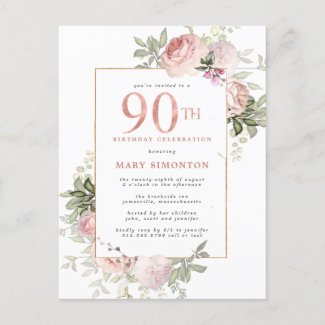 Blush Pink Gold Floral 90th Birthday Party Invitation Postcard