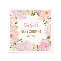 Blush Pink Gold Floral Baby Shower Paper Napkins