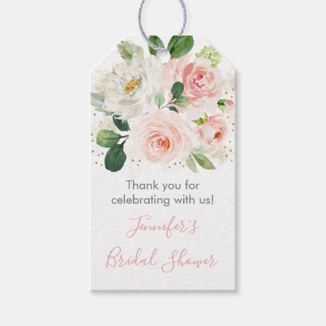 Blush Pink & Gold Floral Bridal Shower Gift Tags