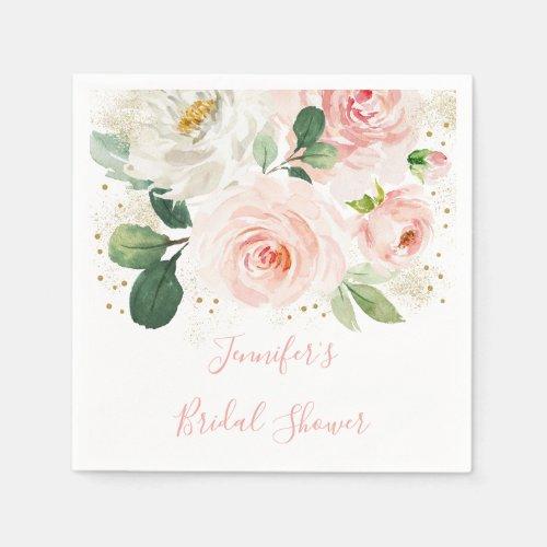 Blush Pink Gold Floral Bridal Shower Napkins