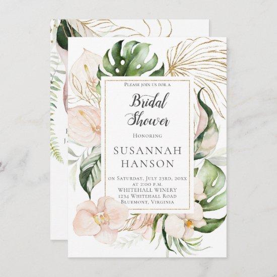 Blush Pink Gold Floral FrameTropical Bridal Shower Card